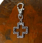 Silver Fancy Cross Zipper Pull Backpack Clip Purse Fob Southwestern Cross Swivel Clip On Charm