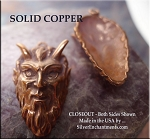 Solid COPPER Horned God Pendant, Devil Krampus