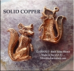 Solid Copper Fox Pendant - both sides shown