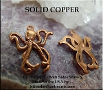 Solid COPPER Octopus Charm