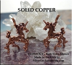Solid COPPER Unicorn Pendant, Bailed 3D Prancing