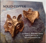 Solid COPPER Fox Pendant, Large Bust