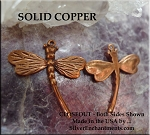 Solid COPPER Dragonfly Charm-Pendant