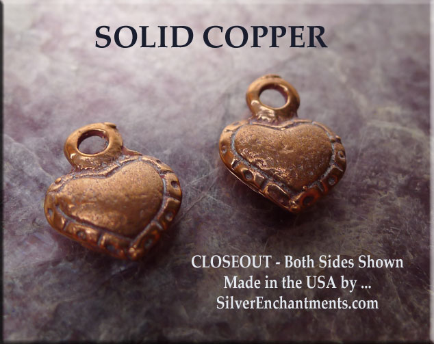 Solid COPPER Heart Charm, 3D Double-sided Country Heart - SOLDOUT