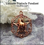Solid COPPER Victorian Unicorn Pentacle Pendant