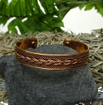 Ladies Men's Pure Copper Bracelet with Magnets - Twisted Rope and Tri-Braided Pattern