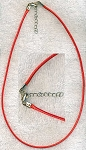 Red Necklace Cord with Extension Chain