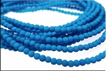 3mm Round Czech Glass Beads Druk Neon ELECTRIC BLUE