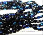 3mm Fire Polished BLACK with BLUE AB Czech Glass Beads