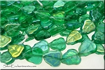 Green AB Czech Glass Leaf Beads