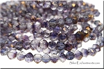 4mm Round English Cut Czech Glass Beads AMETHYST COPPER Luster