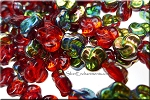 9mm Czech Glass Celtic Trefoil Pansy Beads SIAM RUBY Vitrail