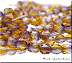 4mm Fire Polished AMETRINE Amethyst-Citrine Czech Glass Beads, Long Strand