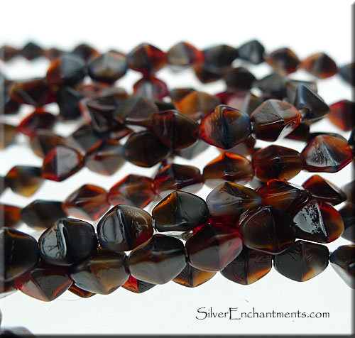4x3mm Red-Brown Tortoise Czech Glass Pinched Rice Beads