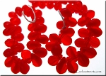 6x4mm Czech Glass Briolette Beads RED