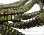 CzechMates 3x6mm Two Hole Brick Beads OLIVE Picasso