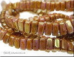 CzechMates 3x6mm Two Hole Brick Beads ROSE GOLD Topaz Luster