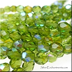 Czech Glass Beads, Fire Polished Olivine AB 6mm