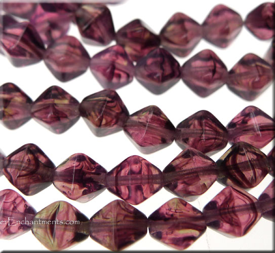 6mm Bicone Czech Glass Beads AMETHYST Hurricane