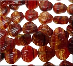 Sea Shell Beads, Hurricane RED BLACK TOPAZ Czech Glass