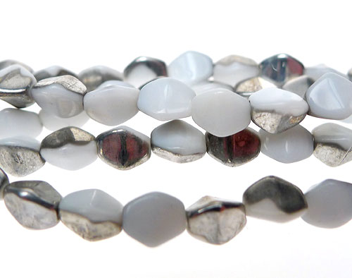 Czech Glass Beads, WHITE-SILVER Pinched Rice Beads