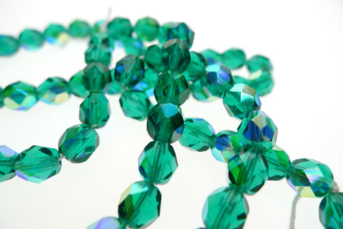 SOLDOUT - Green Teal AB Fire Polished Beads, 6mm