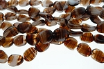 11x9mm Czech Glass Oval Beads Fancy BROWN
