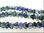 6x4mm Czech Glass Bell Flower Beads Blueberry Green Tea