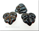 Black Picasso 2 Hole Czech Glass Leaf Beads