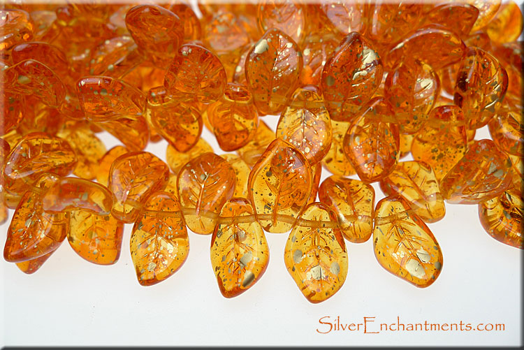 Czech Glass Leaf Beads GOLD Speckled Sunshine