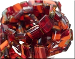 Czech Glass Beads, Red Coral Hurricane Picasso Edge Tile Beads