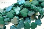 Matte Green AB Czech Glass Leaf Beads