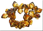 Crystal Picasso Czech Glass Leaf Charm Beads
