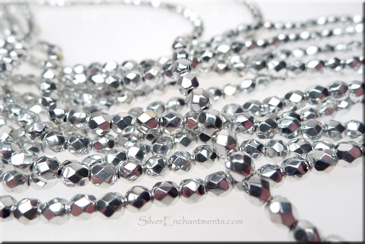 SOLDOUT - BRIGHT SILVER 4mm Faceted Round Czech Glass Fire Polished Beads