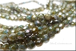 4mm Fire Polished GREEN Luster PICASSO Czech Glass Beads