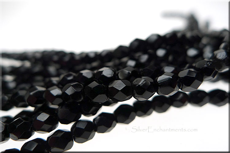 SOLDOUT - Jet Black 4mm Faceted Round Czech Glass Fire Polished Beads
