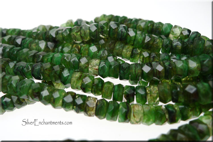 SOLDOUT - Czech Glass Beads, Rondelle Spacer Beads, Moss Agate Hurricane Glass