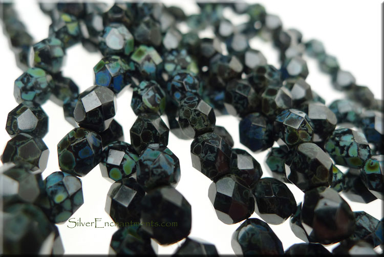 SOLDOUT - Jet Picasso 6mm Faceted Round Czech Glass Fire Polished Beads