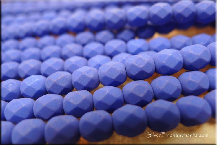 Electric Blue 25 6mm Czech Glass Firepolish Beads Neon
