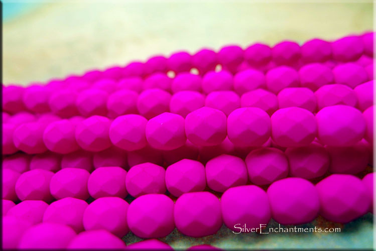 6mm Fire Polished NEON PURPLE UV Reactive Czech Glass Beads
