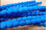 Czech Glass Beads, Fire Polished NEON ELECTRIC BLUE 6mm UV Reactive