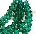8mm Fire Polished EMERALD Czech Glass Beads