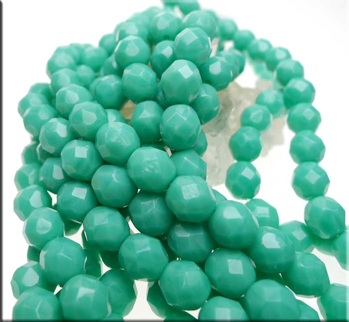 8mm Fire Polished TURQUOISE Czech Glass Beads