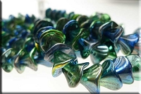 Czech Glass Flower Beads, Metallic Blue PEACOCK Multi
