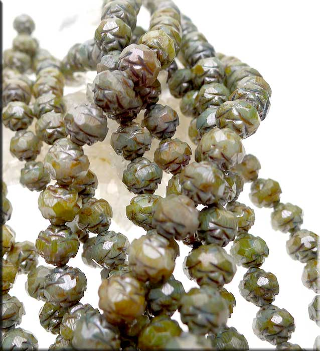 8mm Czech Glass Rosebud Beads Opaque GREEN Luster
