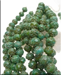 8mm Czech Glass Rosebud Beads TURQUOISE Picasso