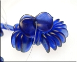 14mm Czech Glass Rose Petal Beads ULTRAMARINE Halo