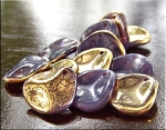 14mm Czech Glass Rose Petal Beads AMETHYST Gold