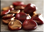 14mm Czech Glass Rose Petal Beads RED Gold