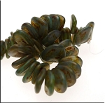 Czech Rose Petal Beads, PERIDOT Copper Picasso 8mm